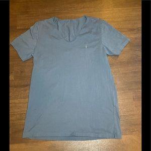 All Saints Tonic Light Blue V Neck T Shirt - M